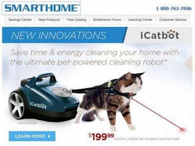 Billige Version eines autonomen Staubsaugroboter mit Katze