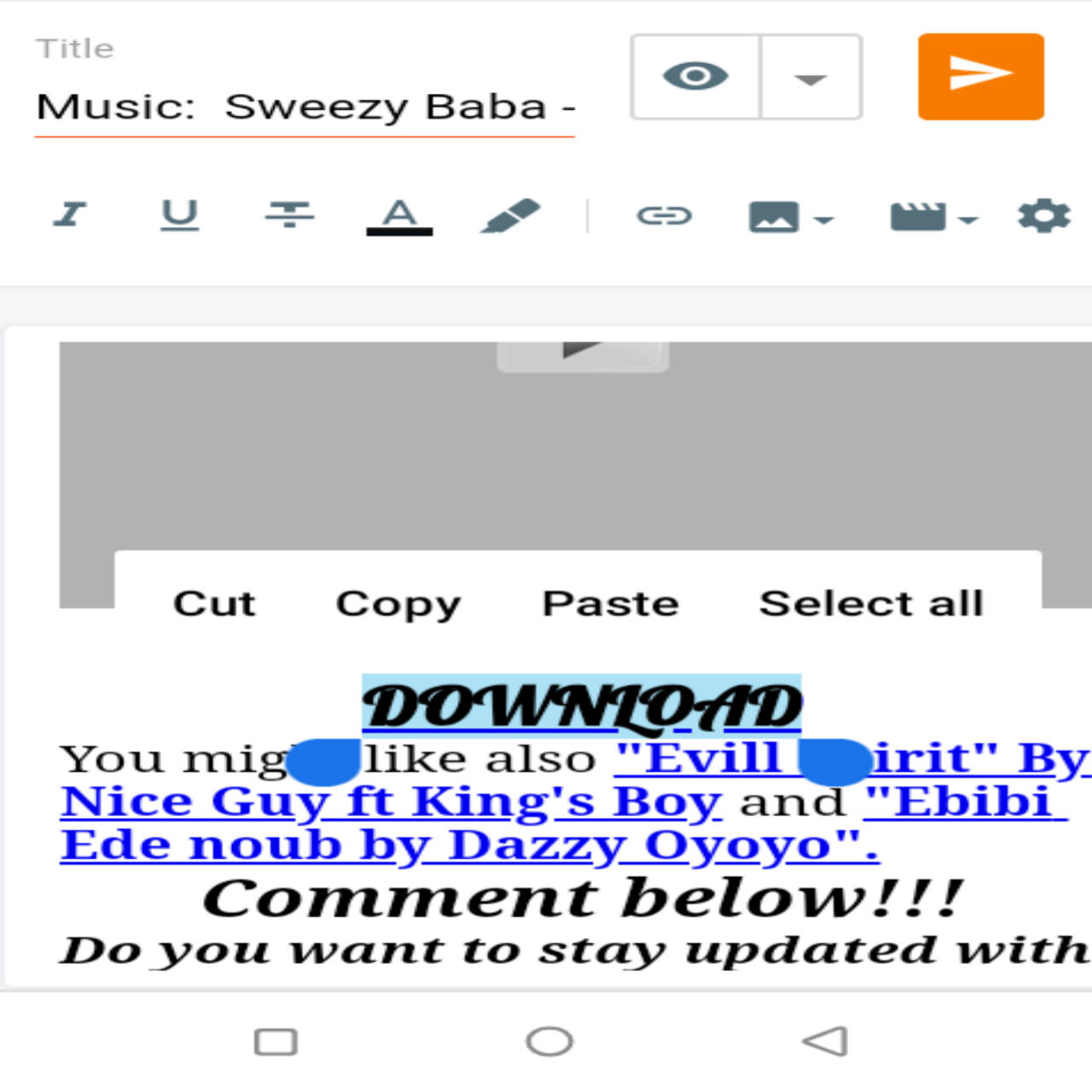 """How to upload mp3 songs on blogspot """"Blogger""""."""