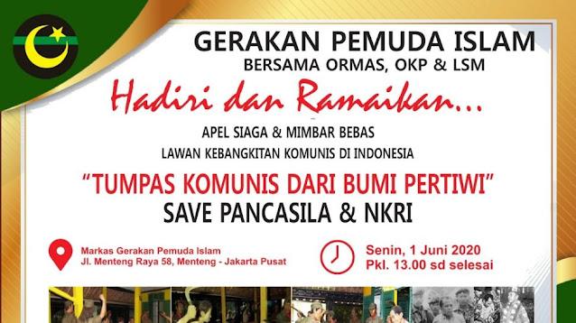 Harlah Pancasila, Ormas di Jakarta akan Gelar Aksi Bakar Bendera PKI
