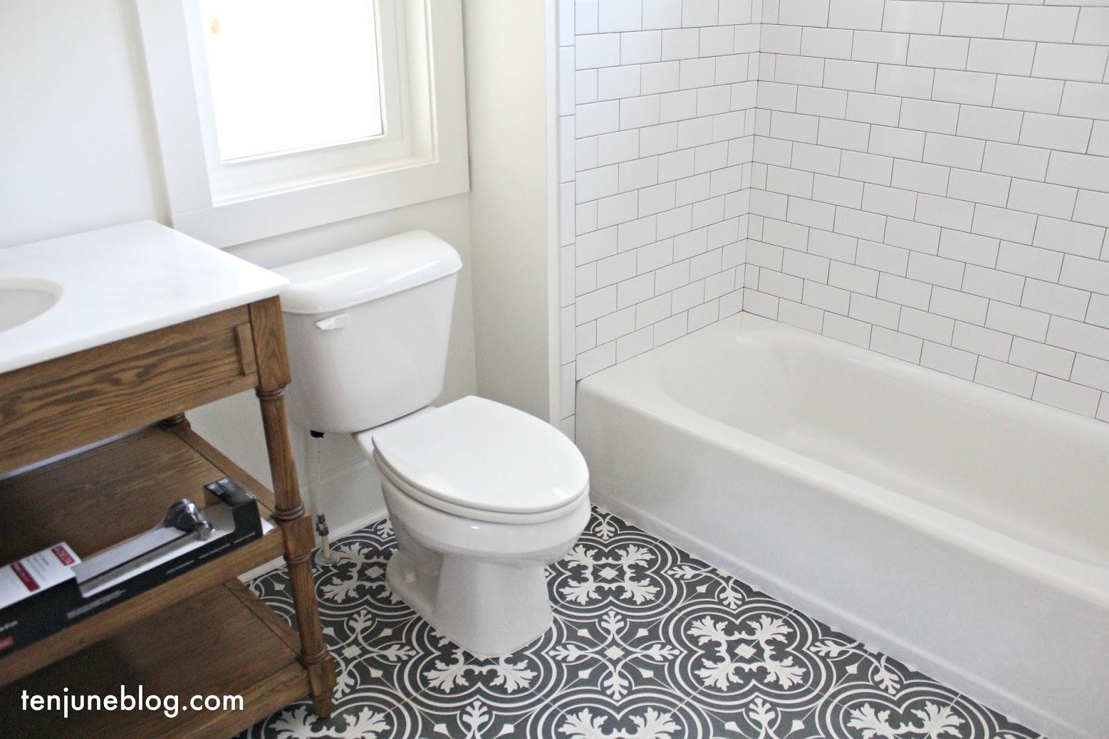 Ten June: Building Our Farmhouse: Tile + Grout Sources on Farmhouse Tile Bathroom Floor  id=87274