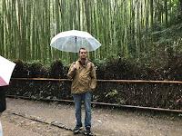 Carlos con el paraguas en el bosque de bambú