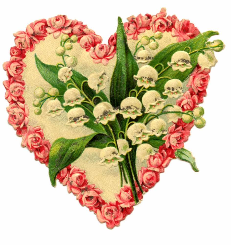 Heart shaped rose wreath and lily of the valley