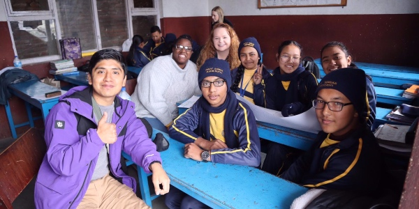 Obed Morales Betanzo (left) with students in Nepal.