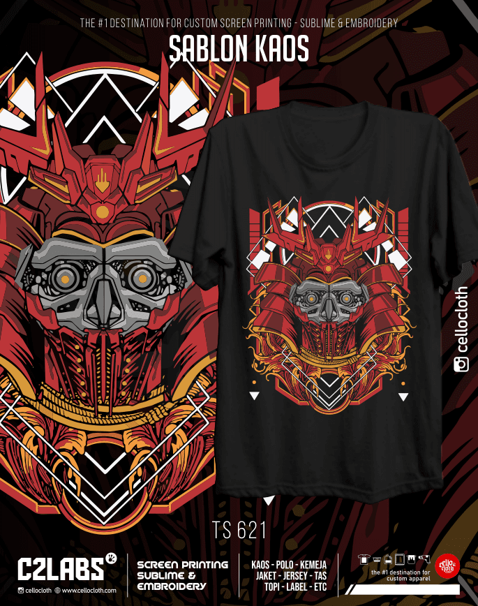 TS 621 Contoh Desain Kaos Sablon Rubber Manual Custom - C2 Labs Cellos Clothes