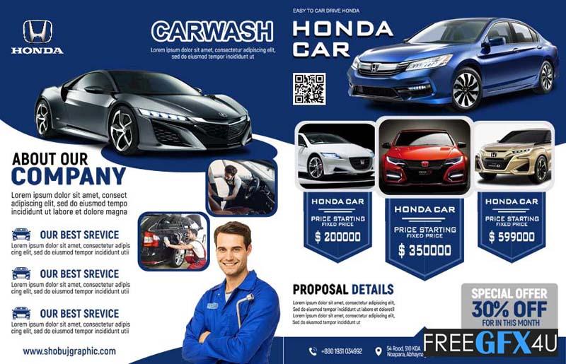 Car Company Professional Bi-Fold Brochure Design Template