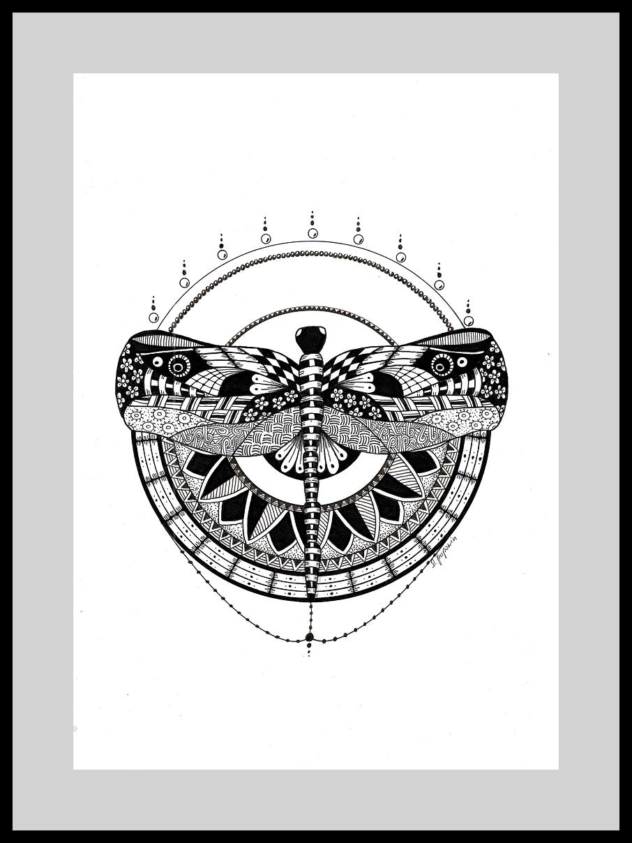 rysunek inspirowany techniką Zentangle