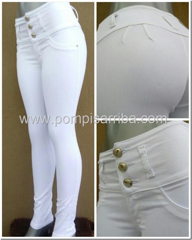 Pantalon Blanco Stretch levanta Pompas Corte Colombiano compra de mayoreo tallas extras