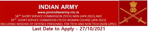 Army Technical SSC Officer Men-58 Women-29 October 2021 course entry