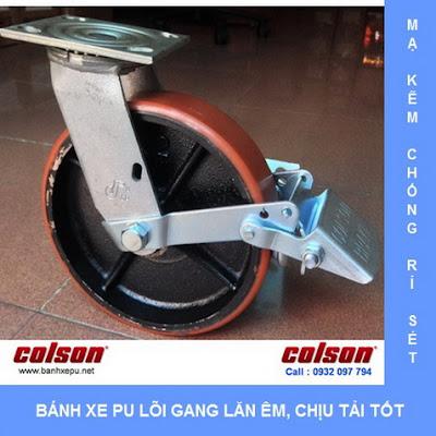 Bánh xe PU lõi gang thép càng xoay có thắng Colson | S4-4209-959-B3 www.banhxedaycolson.com
