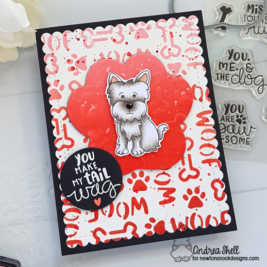 Adorable Puppy Card by Andrea Shell |  Terrific Terriers and Say Woof Stamp Sets, Pawprint Shaker Die and Woof Stencil by Newton's Nook Designs #newtonsnook #handmade