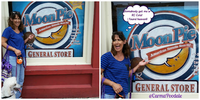 Standing in front of the MoonPie General store