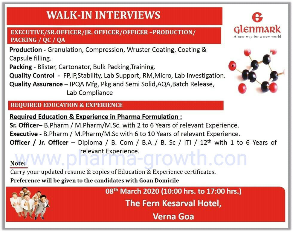 Glenmark – Walk in interview for Production, Packing, Quality Control, Quality Assurance on 8th March 2020