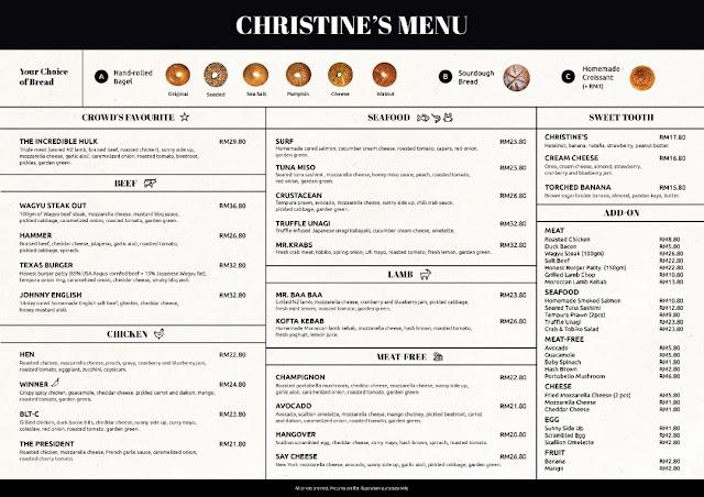 Christine's Bakery Menu