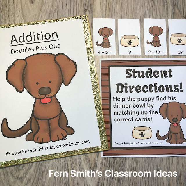 Puppy Dog and Kitty Cat Themed Math Center Games Addition Doubles Plus One Bundle #FernSmithsClassroomIdeas