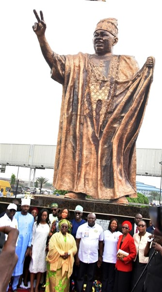 Ambode Unveils 46-feet MKO Abiola Statue in Lagos     Lagos State Governor, Akinwunmi Ambode, Tuesday unveiled a 46-feet statue of Nigeria's symbol of democracy and adjudged winner of the June 12, 1993 Presidential Election, Bashorun Moshood Kasimawo Olawale Abiola, expressing optimism that the monument would forever crystallise what he stood for in his lifetime.  Ambode, who spoke at the unveiling of the statue at the MKO Abiola Garden, Alapere in Ketu, said it was in the tradition of the State Government to recognise and remember heroes and heroines who contributed to the greatness of the nation and the State in particular, adding that MKO Abiola deserves the best from the State as Lagos was his success story.