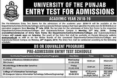 Punjab University Bs admissions open apply online|Last Date