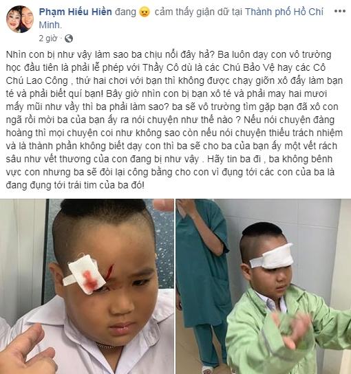 Con trai bị xô ngã phải nhập viện khâu hơn 20 mũi, Hiếu Hiền phẫn nộ: 'Ba sẽ đòi lại công bằng cho con'