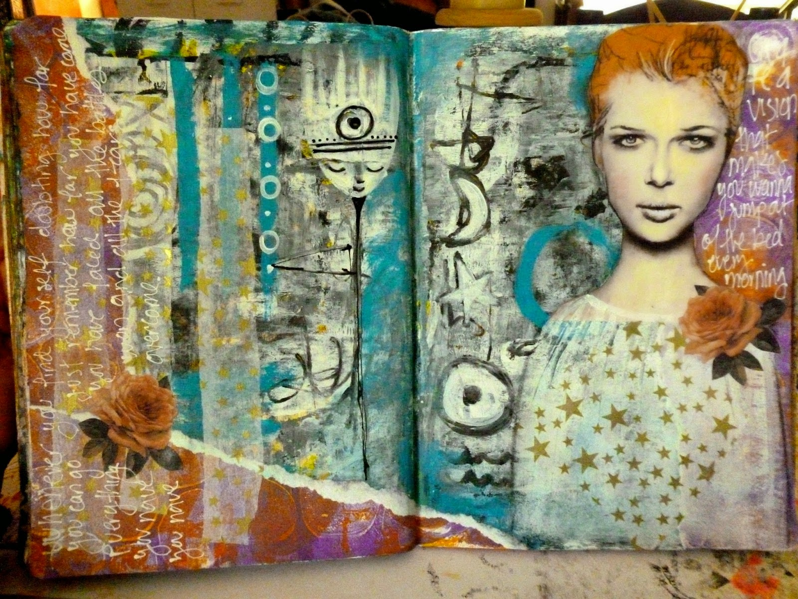 Art journal page tutorial with gelli prints
