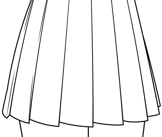 Menggambar lipatan rok sekolah gadis anime