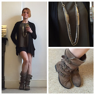 All Saints skirt, H&M top, Marks & Spence boots