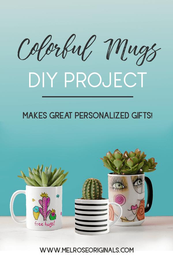 diy succulent planters using coloful mugs from Melrose Originals