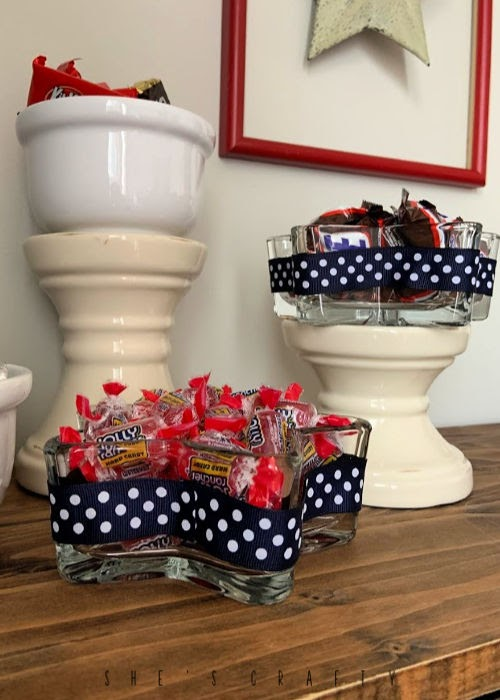 July 4th Dessert Bar - DIY candy dish from star glass bowls