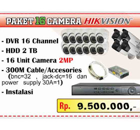 Paket camera 16 Channel Hikvision  <del>Rp 11.500.000,-</del> <price>Rp 9.500.000,-</price> <code>PAKET-HIK8CH-AKHIRTAHUN-0003</code>