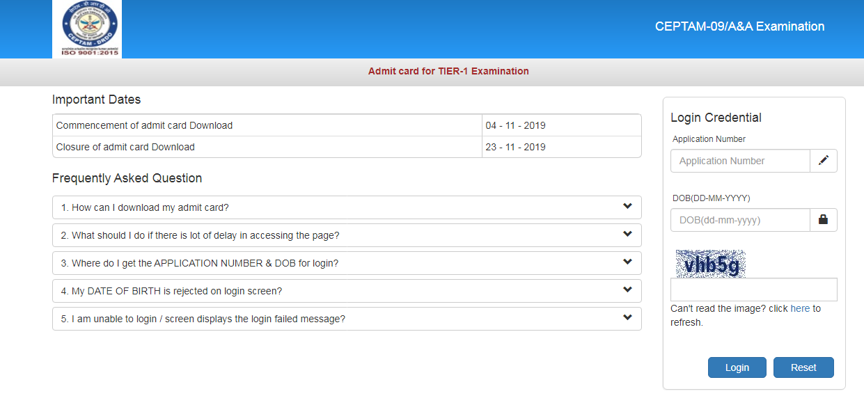 DRDO CEPTAM 9 Admit Card Download