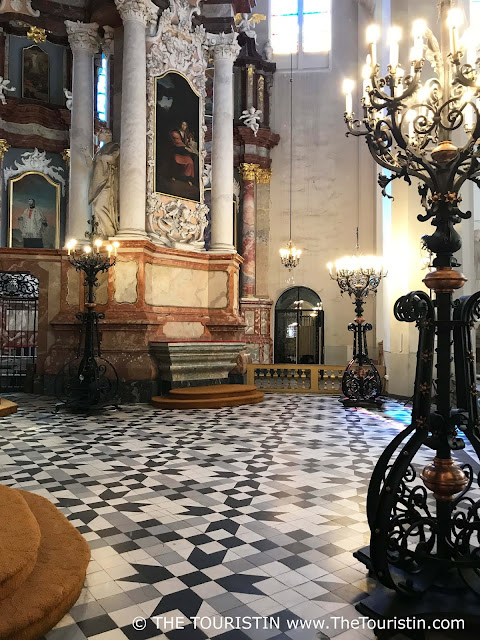 Interior and beautiful tiled floor of the Church of Saint John in Vilnius in Lithuania