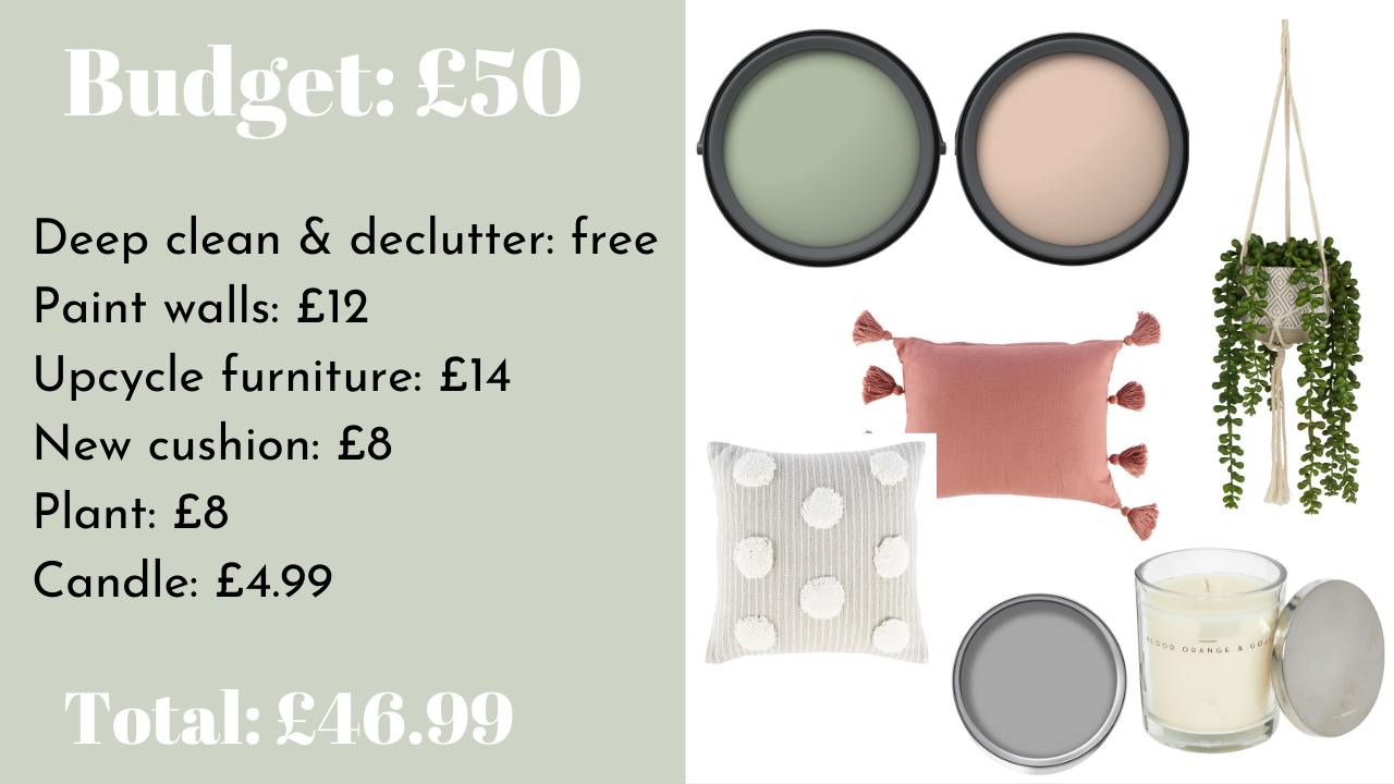 Small bedroom updates for all budgets, from just £50. Featuring ideas of how to spend your budget, including new bedroom furniture, new flooring and new window shutters. Plus a pink and green mood board for a stylish bedroom update.