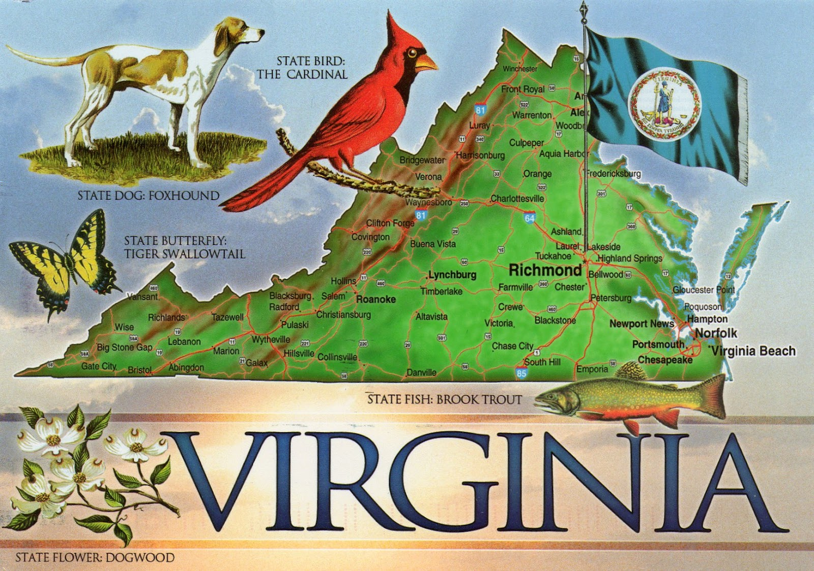 The World In Our Mailbox Virginia Map Card