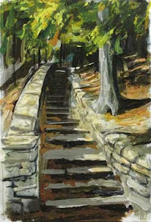 Painting of a stone staircase at Letchworth State Park.