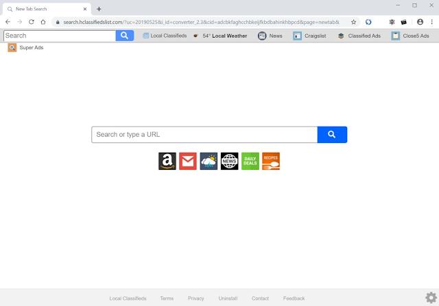 Search.hclassifiedslist.com (Hijacker)