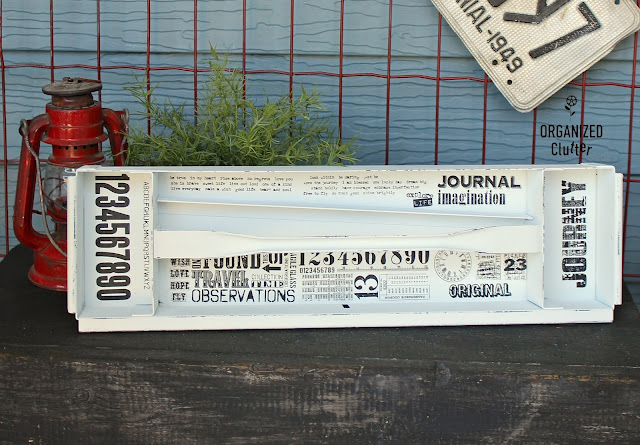 Upcycled Thrifted Metal Toolbox Tray #fathersday #diygift #organization #diy #timholtz #imagetransfer #toolbox