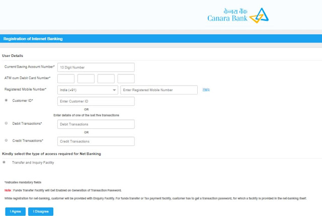 Canara Bank Net Banking Registration form