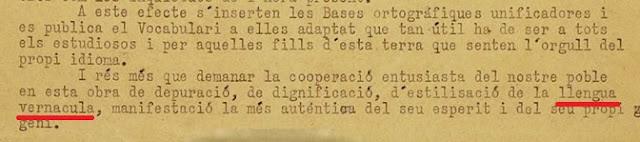 """bases ortográfiques del 32 no posa en ningún puesto que siga del català, anomenen al idioma """"llengua vernácula"""""""