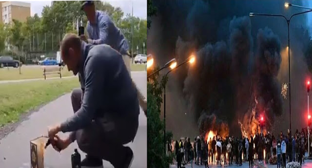 Riots in Malmo in Sweden after a Video of Stram Kurs Member 'Burning Holy Quran' Goes Viral
