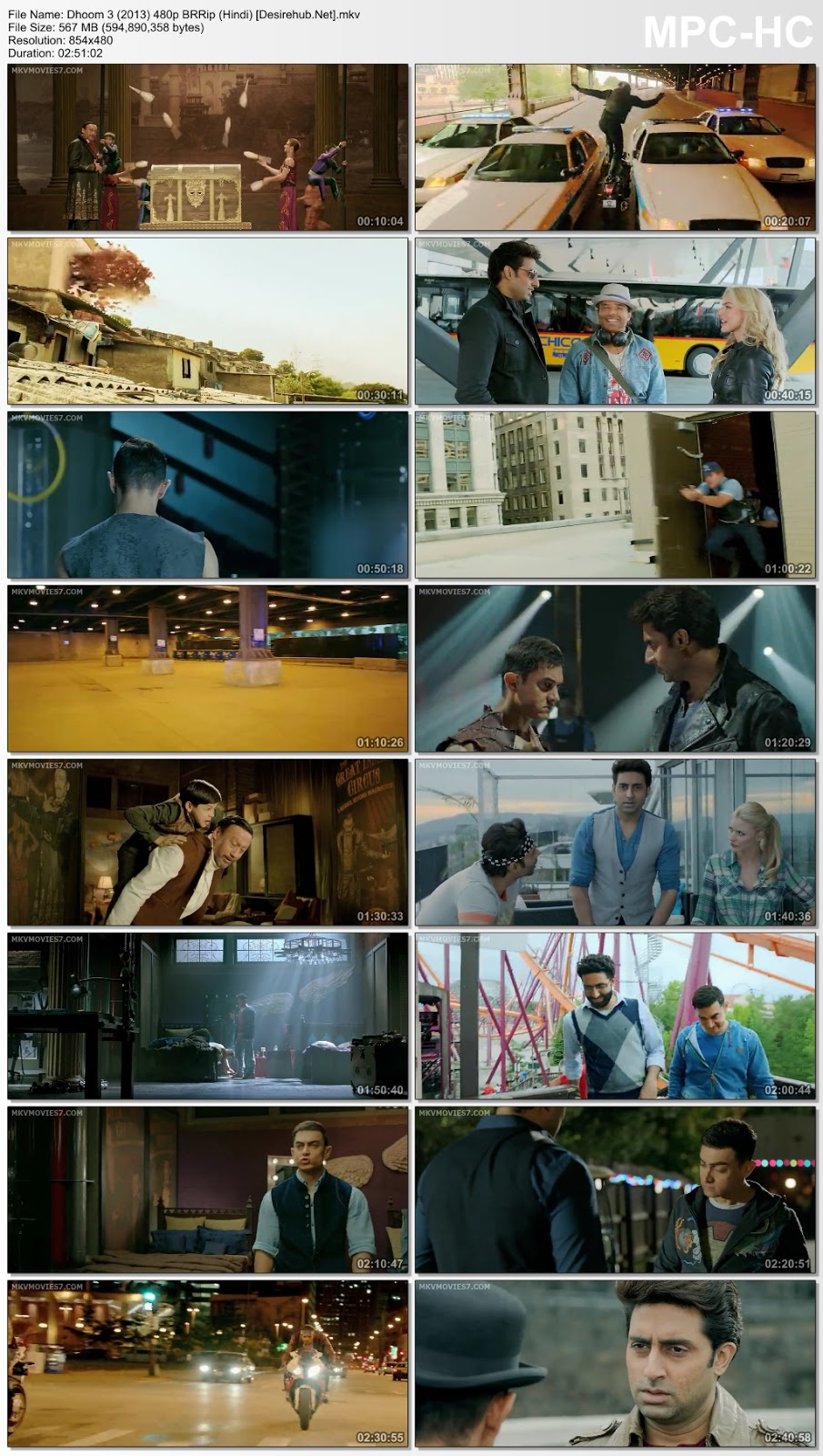 Dhoom 3 (2013) Hindi 480p BluRay 550MB Desirehub