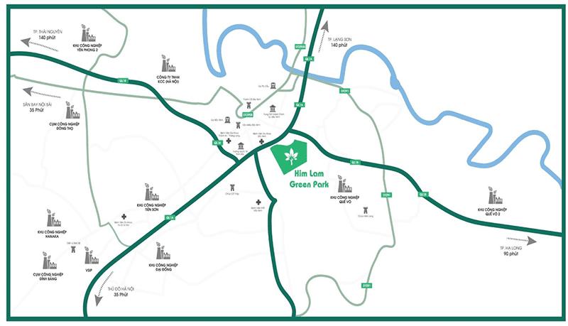 Bản đồ vị trí của Him Lam Green Park