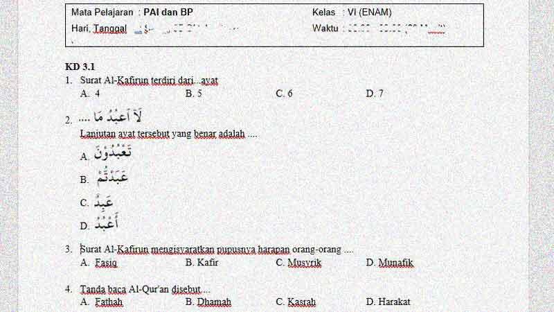 Soal dan Kunci Jawaban PTS Mapel PAI dan BP Kelas 6 Semester 1