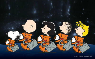 Snoopy and friends going to space