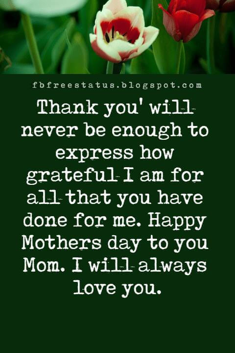 mothers day greetings for cards, Thank you' will never be enough to express how grateful I am for all that you have done for me. Happy Mothers day to you Mom. I will always love you.