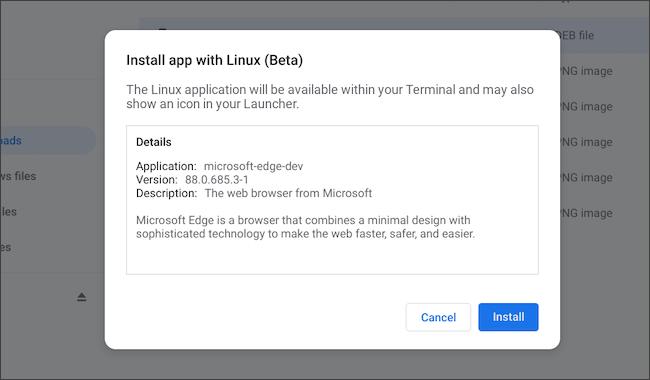 قم بتثبيت تطبيق Linux من Microsoft Edge على Chromebook