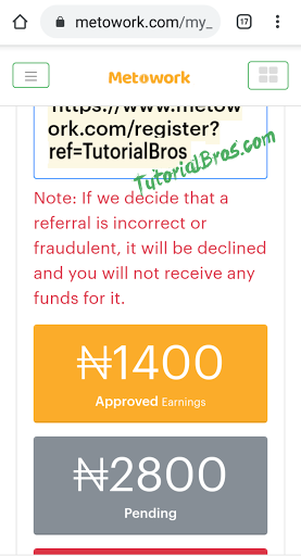 How to Earn N200 to 5,000 Naira and Above on Metowork