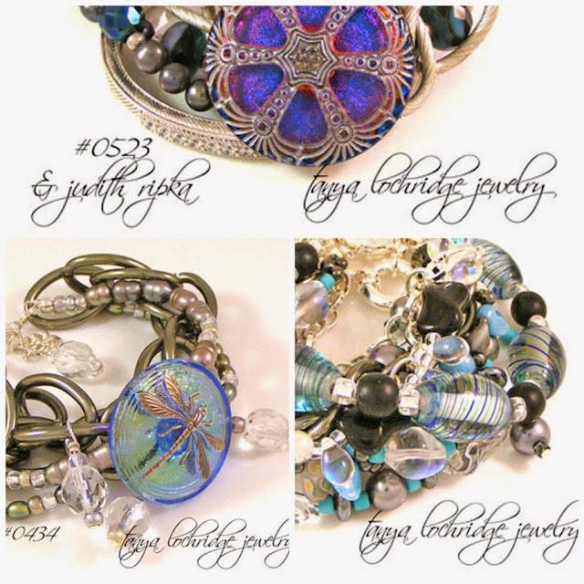 Tanya Lochridge Jewelry Blue-Gunmetal Vintage Czech Glass Button & Pearl Bracelet