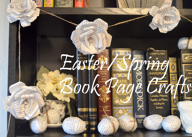 Easter, Spring, Book Page Crafts, Easter Decorations, Book Page Flowers, Book Page Eggs