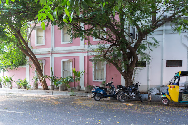 pondicherry puducherry colorful colourful houses seaside india french architecture