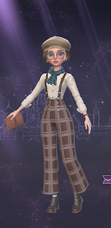 A 1920s style page boy outfit with plaid pants, suspenders, glasses, and a cute newsboy cap