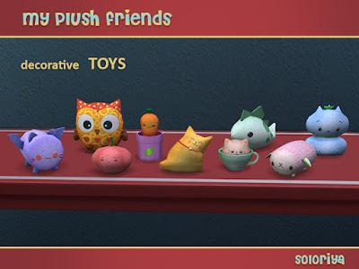 My Plush Friends Мои плюшевые друзья для The Sims 4 В комплект входят 5 функциональных игрушек и 9 декоративных игрушек. Функциональные игрушки работают для малышей и детей. Функциональные игрушки можно найти в категории Развлечения - Детские игрушки, а декоративные игрушки можно найти в категории Декоративные - Беспорядок. Автор: soloriya