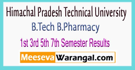 HPTU Hamirpur B.Tech B.Pharmacy 1st 3rd 5th 7th Semester Results 2017-18